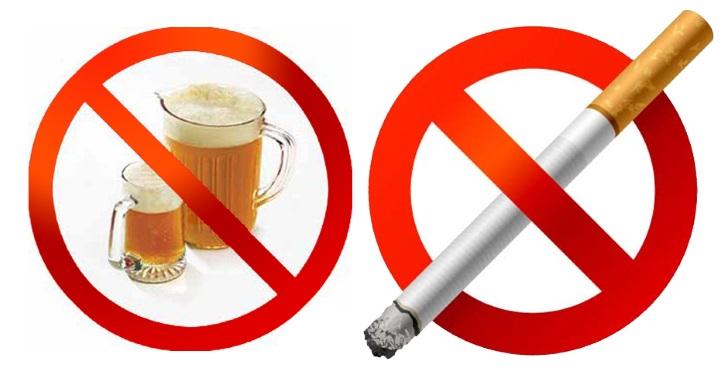 Нельзя при ВПЧ курить и пить